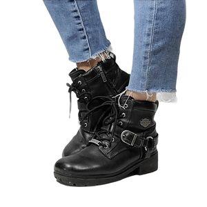 Harley-Davidson Black Leather Combat Boots